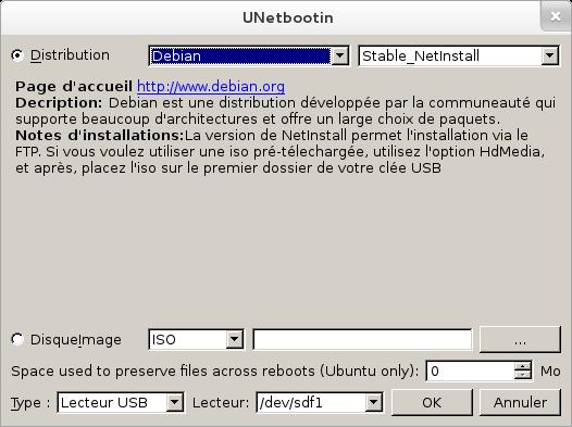 UNetbootin ISO Debian